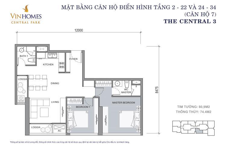 Mặt bằng căn hộ 2 phòng ngủ Căn hộ Vinhomes Central Park 2 phòng ngủ tầng cao C3 nội thất đầy đủ