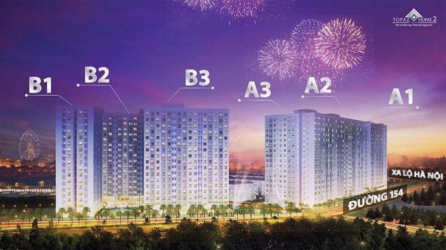 Building dự án Căn hộ Topaz Home 2 tầng trung, nội thất cơ bản, view thoáng mát.