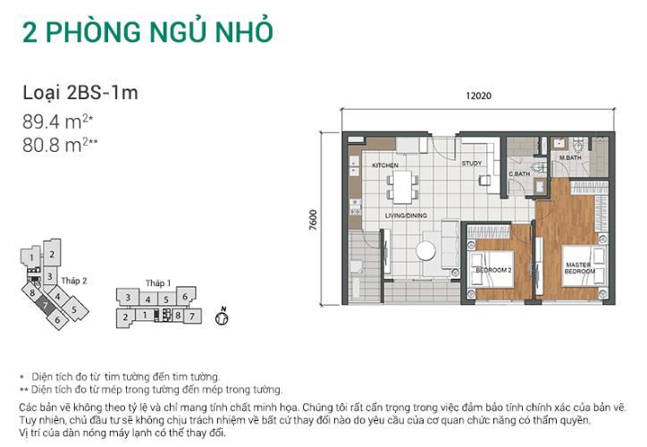 Căn hộ 2 phòng ngủ Căn hộ Estella Heights 2 phòng ngủ tầng trung tòa T2 mới bàn giao