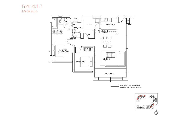Mặt bằng căn hộ 2 phòng ngủ Căn hộ Estella tầng cao tháp 3B, thiết kế đẹp, đầy đủ tiện nghi