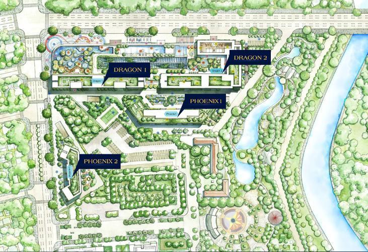 layôut tổng thể dự án Topaz Elite quận 8 Căn hộ Topaz Elite tầng cao, cửa chính hướng Tây Bắc.