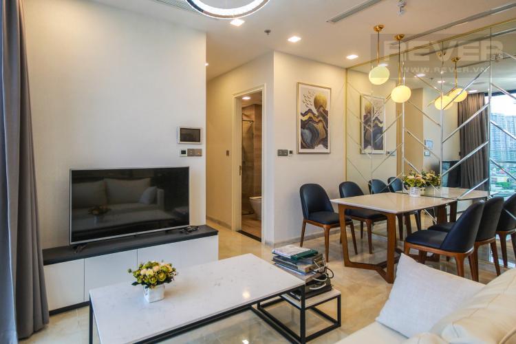 Phòng Khách Cho thuê căn hộ Vinhomes Golden River 2PN, đầy đủ nội thất, view sông Sài Gòn và Landmark 81