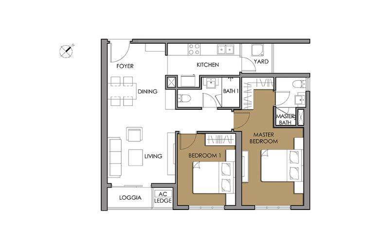 Căn hộ 2 phòng ngủ Căn hộ Vista Verde tầng trung tòa T2 nội thất đẹp, nhà mới, chưa ở