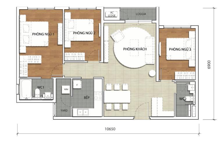 Mặt bằng căn hộ 3 phòng ngủ Căn góc The Krista 3 phòng ngủ, nội thất cơ bản, lầu cao, view về Quận 2