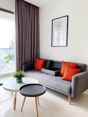 Phòng khách căn hộ Masteri  Millennium Cho thuê căn hộ Masteri Millennium thuộc tầng trung, 1 phòng ngủ, diện tích 30m2, đầy đủ nội thất