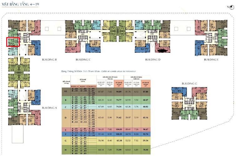 Mặt bằng tầng Căn hộ Saigon South Residence nội thất đầy đủ, hướng Bắc.