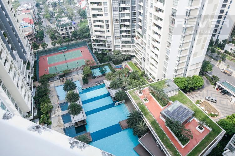 View Căn hộ The Estella Residence 3 phòng ngủ tầng cao 1A view hồ bơi