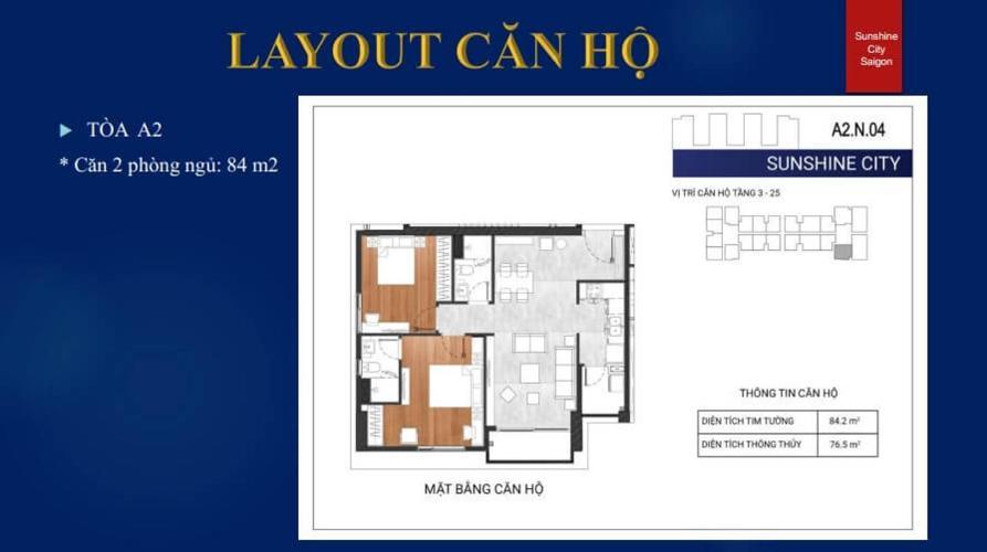 Mặt bằng căn hộ căn hộ Sunshine City Saigon Bán Office-tel Sunshine City Saigon thiết kế hiện đại và tinh tế.