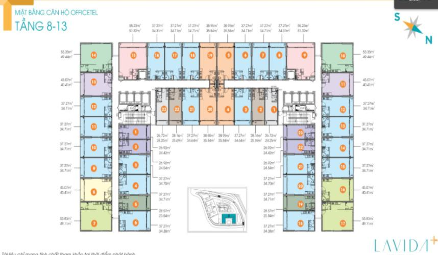 mặt bằng chung Office-tel Lavida Plus tầng 08, nội thất cơ bản.