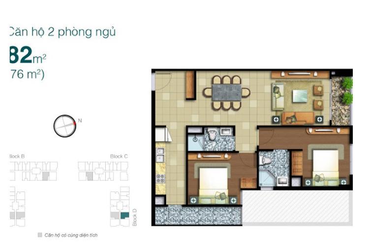 Mặt bằng căn hộ 2 phòng ngủ Căn hộ Lexington Residence tầng cao LD thiết kế hiện đại