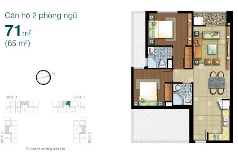 Mặt bằng căn hộ 2 phòng ngủ Căn hộ Lexington Residence 2 phòng ngủ tầng cao LC nội thất đầy đủ