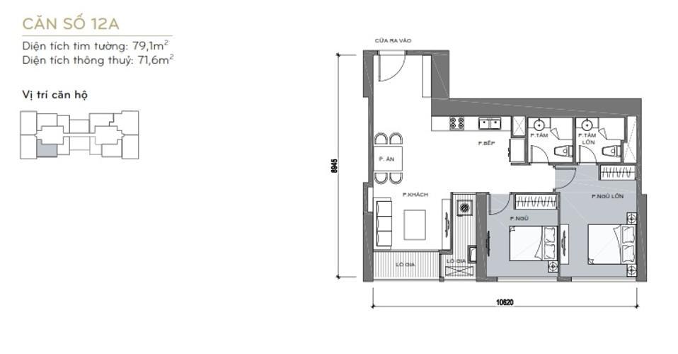 Măt bằng căn hộ 2 phòng ngủ Căn hộ Vinhomes Central Park 2 phòng ngủ tầng cao L6 nội thất đầy đủ