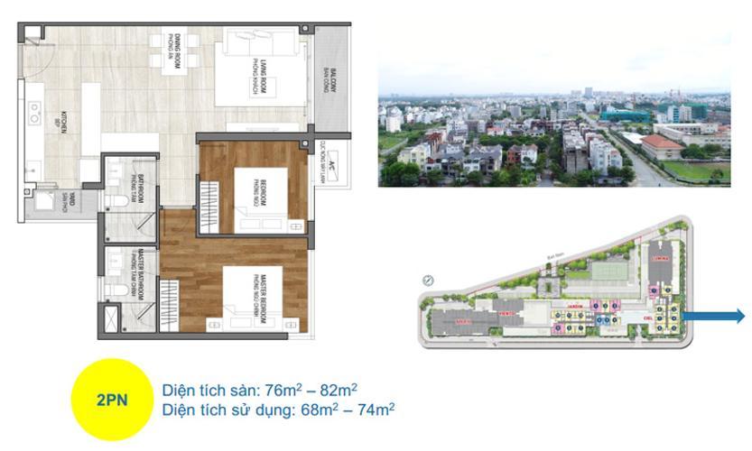 layout Căn hộ One Verandah thuộc tầng trung, diện tích thông thuỷ 78m