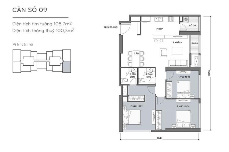 Căn hộ 3 phòng ngủ Căn góc Vinhomes Central Park 3 phòng ngủ tầng trung Landmark 5