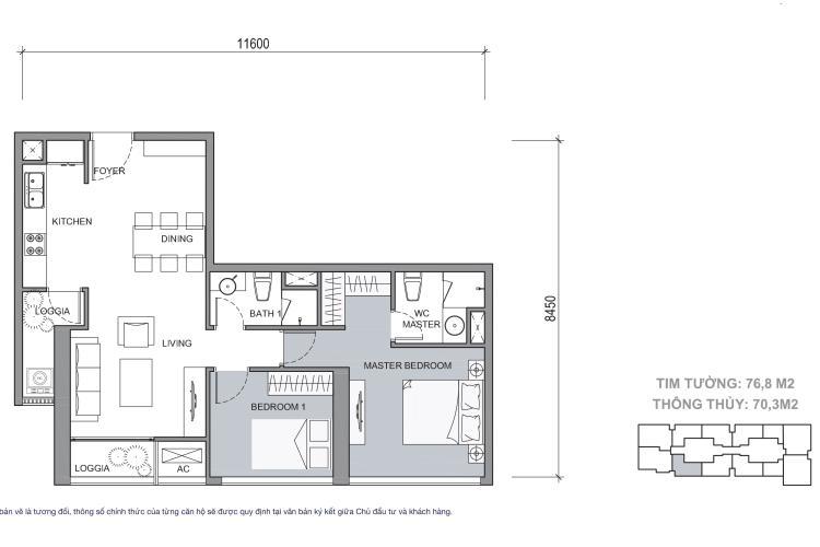 Mặt bằng căn hộ 2 phòng ngủ Căn hộ Vinhomes Central Park 2 phòng ngủ tầng cao C3 hướng Tây