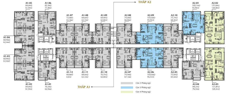Mặt bằng Officetel Sunshine City Sài Gòn Bán Officetel Sunshine City Sài Gòn thuộc tầng thấp, 2 phòng ngủ, diện tích 69m2.
