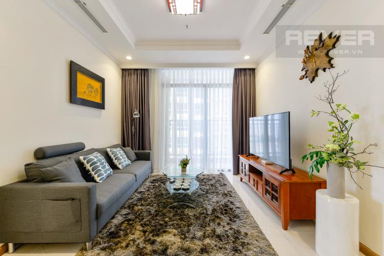 Phòng khách Căn góc Vinhomes Central Park 2 phòng ngủ tầng trung L3 đầy đủ nội thất