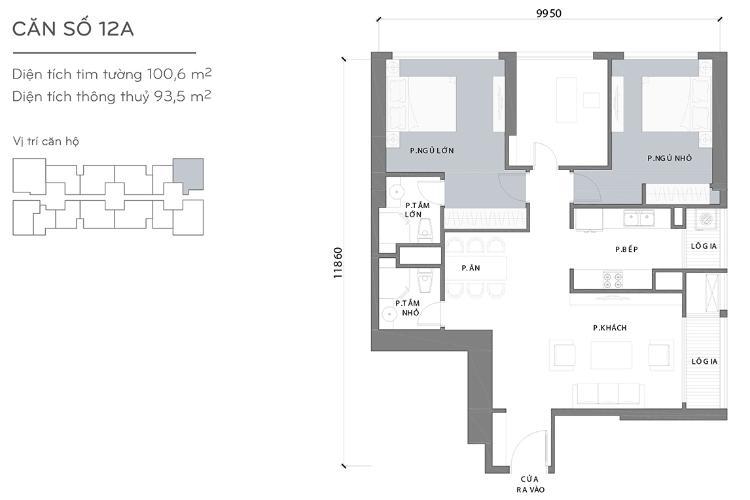Mặt bằng căn hộ 3 phòng ngủ Căn góc Vinhomes Central Park 3 phòng ngủ, tầng cao L3, nội thất đầy đủ