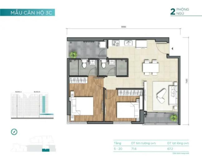 layout căn số 3 tháp B dự án D'Lusso quận 2 Căn hộ nội thất cơ bản D'Lusso view thoáng mát.