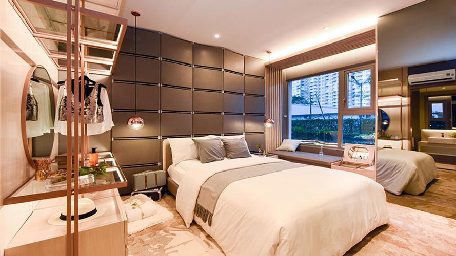 Phòng ngủ căn hộ River Panorama, Quận 7 Căn hộ tầng cao River Panorama hướng Tây Bắc, nội thất cơ bản.