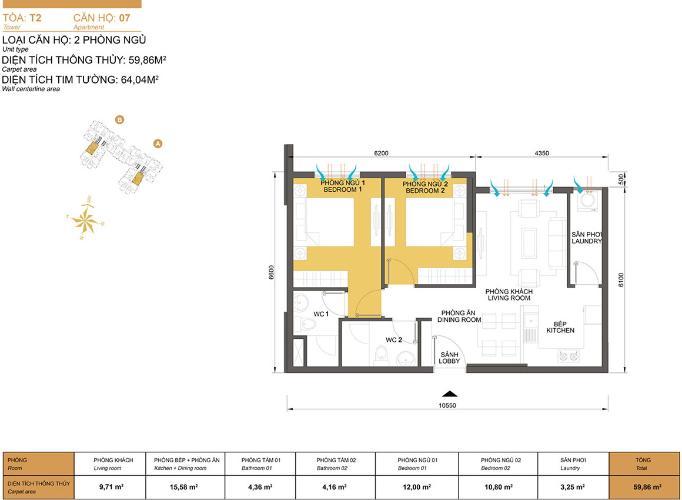 Mặt bằng căn hộ 2 phòng ngủ Căn hộ Masteri Thảo Điền 2 phòng ngủ tầng trung T2 nhà trống