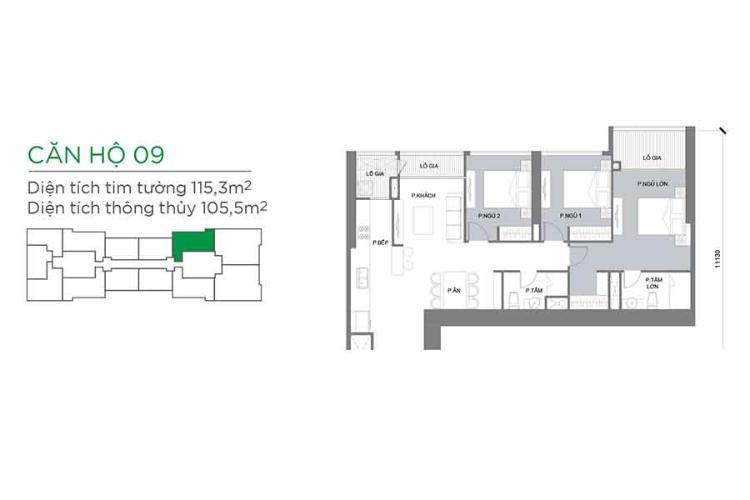 Căn hộ 3 phòng ngủ Căn hộ Vinhomes Central Park tầng trung Park 3 view trực diện sông