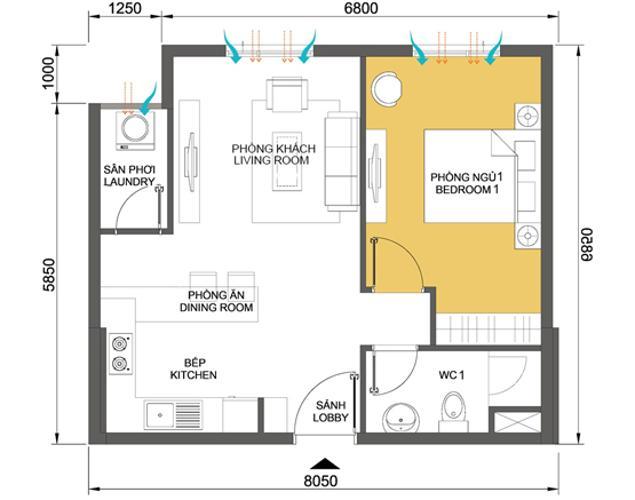 Căn hộ 1 phòng ngủ Căn hộ Masteri Thảo Điền 1 phòng ngủ tầng trung T4 đầy đủ nội thất
