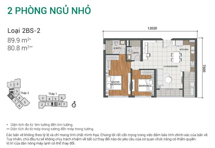 Căn hộ 2 phòng ngủ Căn hộ Estella Heights 2 phòng ngủ tầng trung T2 đầy đủ nội thất