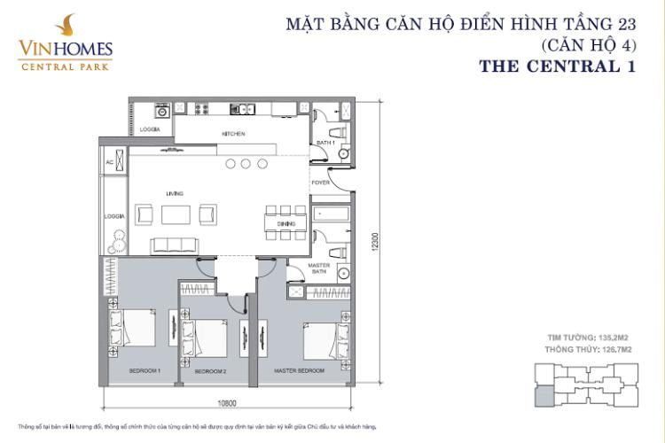 Mặt bằng căn hộ 3 phòng ngủ Căn hộ 3 phòng ngủ tiện nghi, đẳng cấp tại The Central 1, Vinhomes Central Park