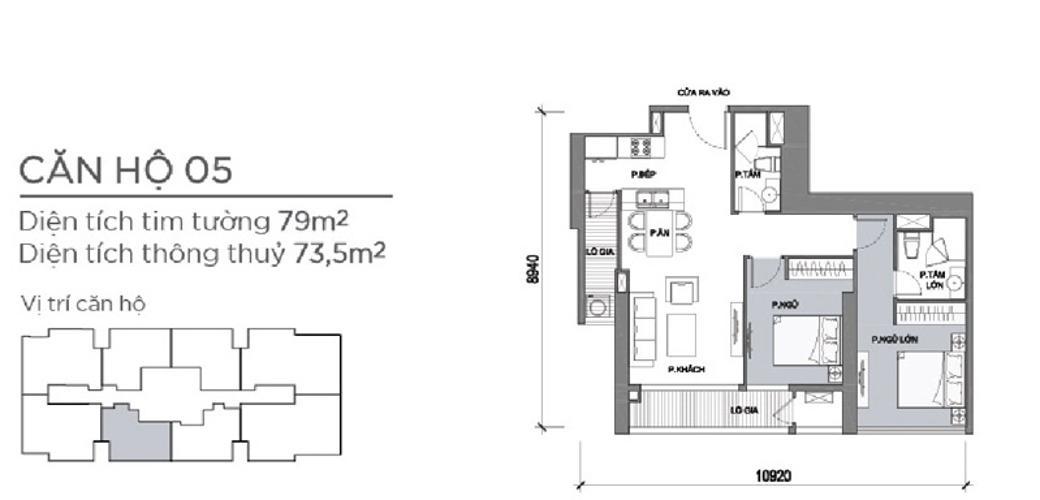 Mặt bằng căn hộ 2 phòng ngủ Căn hộ Vinhomes Central Park 2 phòng ngủ tầng trung P5 hướng Nam