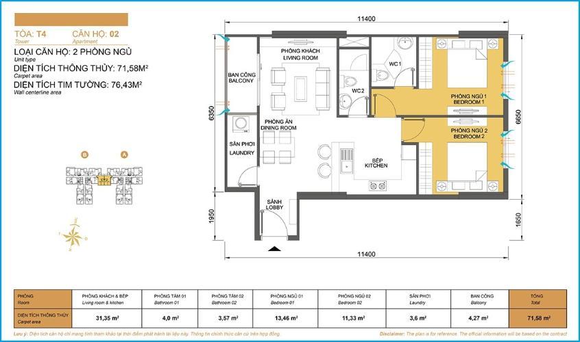 Mặt bằng căn hộ 2 phòng ngủ Căn hộ Masteri Thảo Điền 2 phòng ngủ tầng cao T4 nội thất đầy đủ