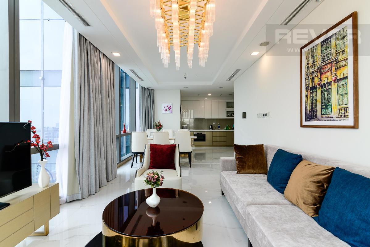 Phòng Khách 2 Bán hoặc cho thuê căn hộ Vinhomes Central Park 4PN, tháp Landmark 81, diện tích 164m2, đầy đủ nội thất, căn góc view thoáng