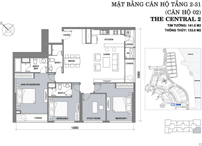 Mặt bằng căn hộ 4 phòng ngủ Căn hộ Vinhomes Central Park 4 phòng ngủ tầng trung C2 view sông
