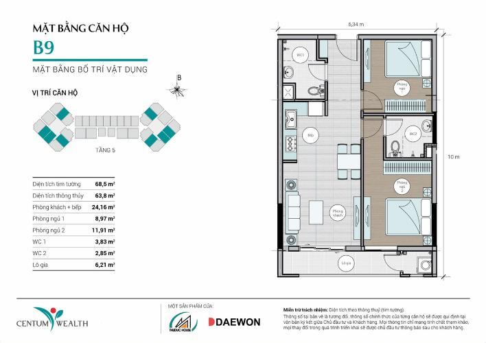 Căn hộ Centum Wealth tầng thấp, bàn giao nội thất cơ bản.