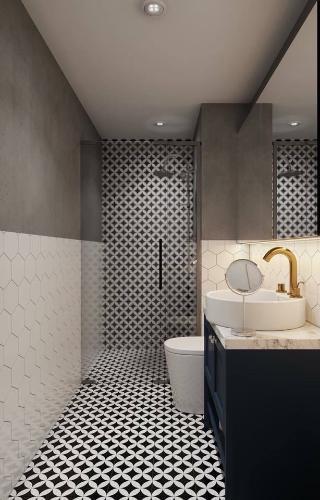 Nhà tắm căn hộ offitel The Sun Avenue Căn hộ Officetel The Sun Avenue tầng thấp view sông nội thất đầy đủ.
