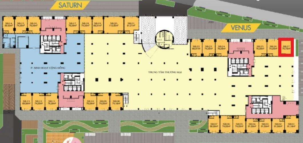 Mặt bằng shop house dự án Q7 Saigon Riverside Complex Bán Shophoue Q7 Saigon Riverside, diện tích 75.73m2