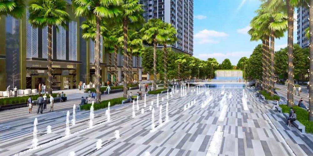 Nôi khu - Đài phun nước Q7 Sài Gòn Riverside Căn hộ Q7 Saigon Riverside 1 phòng ngủ, ban công hướng Tây.