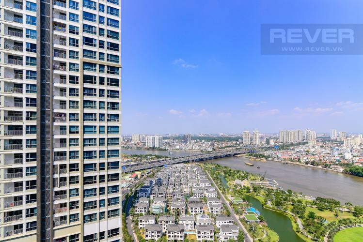 View Cho thuê căn hộ Vinhomes Central Park 2PN 2WC, đầy đủ nội thất, view sông