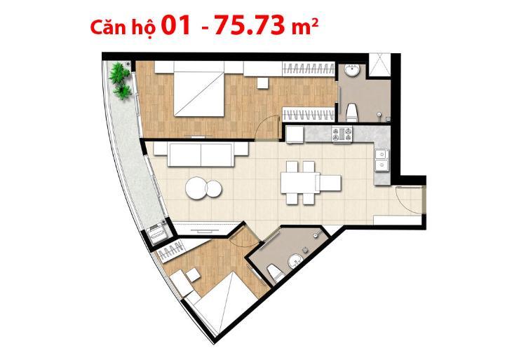 Căn hộ 2 phòng ngủ Căn hộ Tulip 2 phòng ngủ tầng cao view sông, nội thất cơ bản