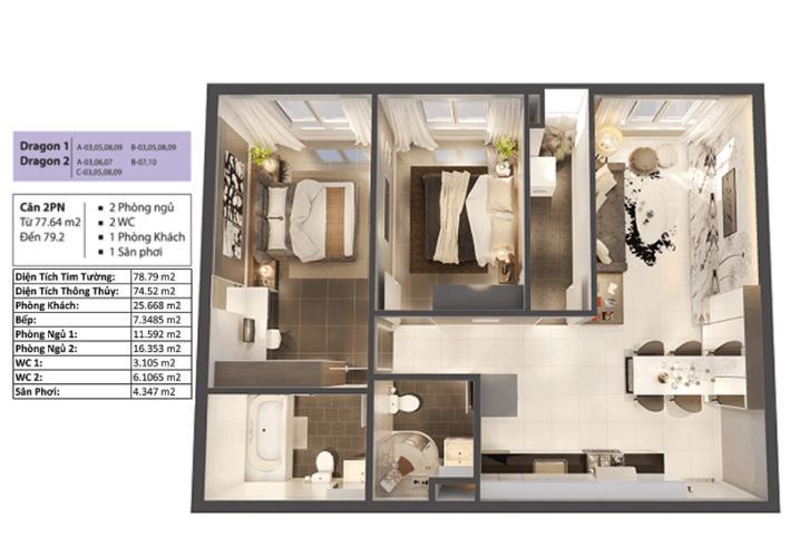 Phối cảnh căn hộ Topaz Elite Căn hộ Topaz Elite tầng trung, ban công hướng Đông Nam, 2 phòng ngủ.