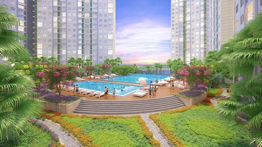 Nội khu hồ bơi City Gate 3 Căn hộ City Gate 3 nội thất cơ bản 1 phòng ngủ view thành phố  .