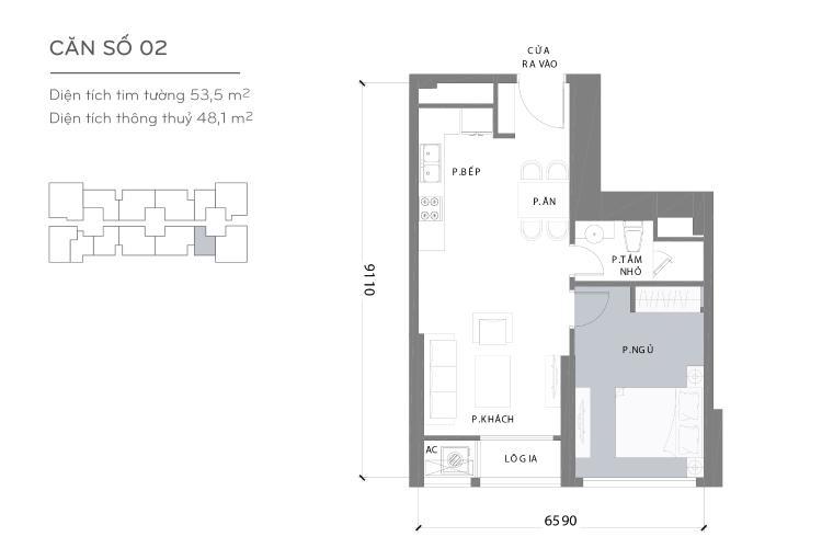 Mặt bằng căn hộ 1 phòng ngủ Căn hộ Vinhomes Central Park 2 phòng ngủ tầng cao L3 đầy đủ nội thất