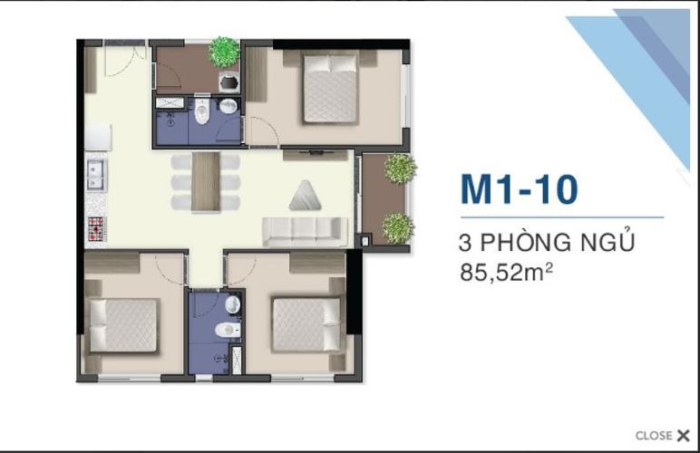 Bán căn hộ Q7 Saigon Riverside thuộc tầng cao, 3 phòng ngủ, diện tích 85.5m2, nội thất cơ bản.