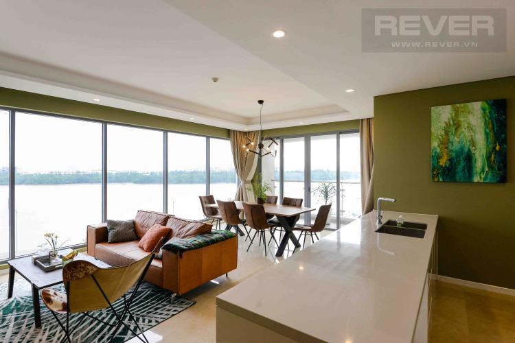 Phòng Khách Cho thuê căn hộ Diamond Island - Đảo Kim Cương 4PN, tháp Maldives, đầy đủ nội thất, view sông thoáng mát