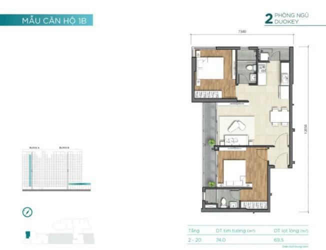 layout căn số 8 dự án D'Lusso quận 2 Căn hộ tầng trung D'Lusso phòng khách đón sáng thoáng mát.