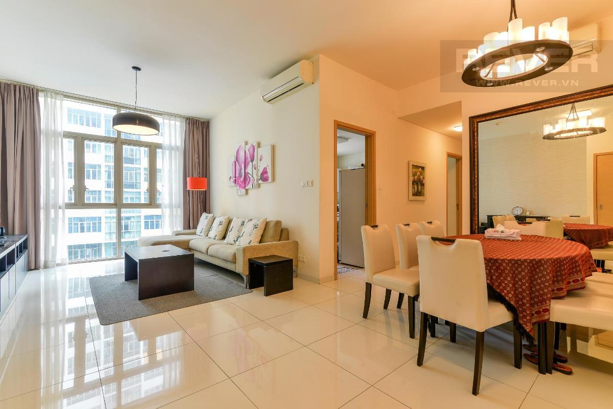 Phòng khách + Phòng ăn Cho thuê căn hộ The Vista An Phú 2PN, diện tích 101m2, đầy đủ nội thất, view hồ bơi yên tĩnh