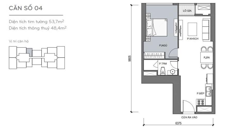 Mặt bằng căn hộ 1 phòng ngủ Căn hộ Vinhomes Central Park 1 phòng ngủ tầng cao L4 nội thất đầy đủ
