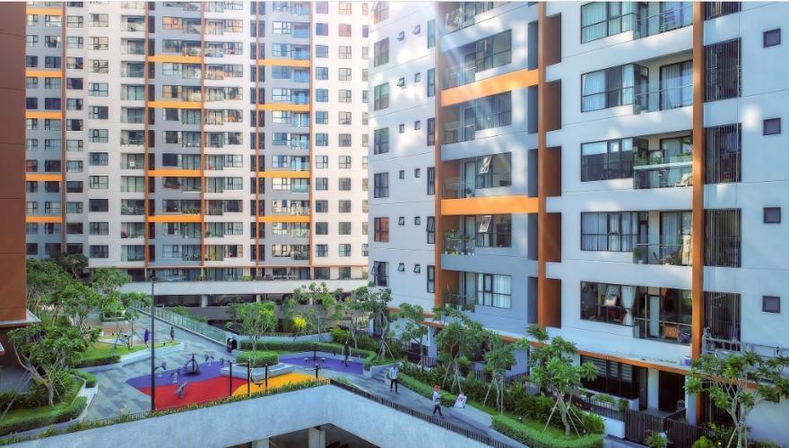 Nội khu khuôn viên Mizuki Park, Bình Chánh Căn hộ Mizuki Park tầng cao, view đường đại lộ thương mại.