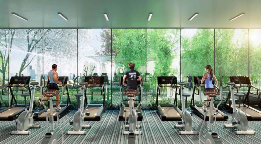 Tiện ích phòng tập gym Saigon Intela, Bình Chánh Căn hộ tầng trung Saigon Intela ban công đón view thành phố.