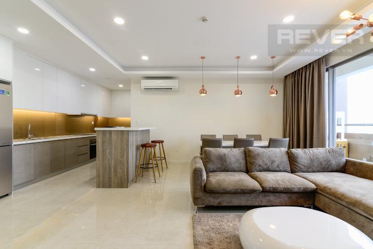 Phòng Khách Cho thuê căn hộ Masteri Millennium tầng cao, 3PN, nội thất đầy đủ